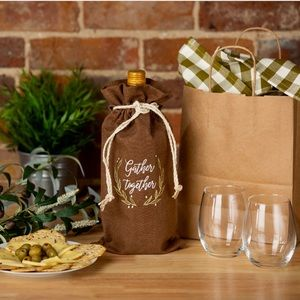 """Other - wine bag • """"gather together"""" • brown 🍷🍁🌾🍂🦃"""